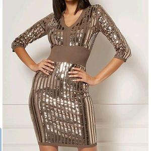 EVA Mendez Sequin Sweater Dress GOLD